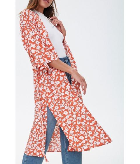 Imbracaminte Femei Forever21 Floral Side-Slit Kimono RUSTIVORY