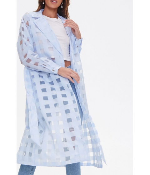 Imbracaminte Femei Forever21 Shadow Checkered Duster Jacket LIGHT BLUE