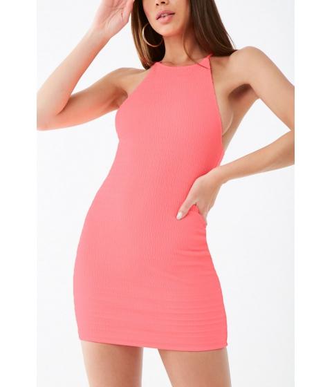 Imbracaminte Femei Forever21 Seersucker High-Neck Dress NEON PINK