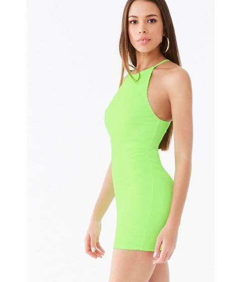 Imbracaminte Femei Forever21 Seersucker High-Neck Dress NEON GREEN