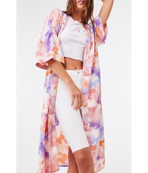 Imbracaminte Femei Forever21 Belted Watercolor Kimono PINKMULTI