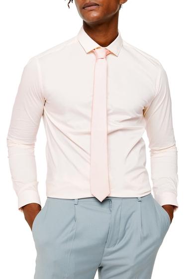 Imbracaminte Barbati TOPMAN Skinny Fit Stretch Button-Up Shirt PINK