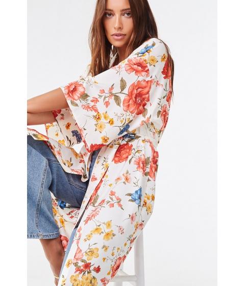 Imbracaminte Femei Forever21 Floral Satin Kimono CREAMMULTI
