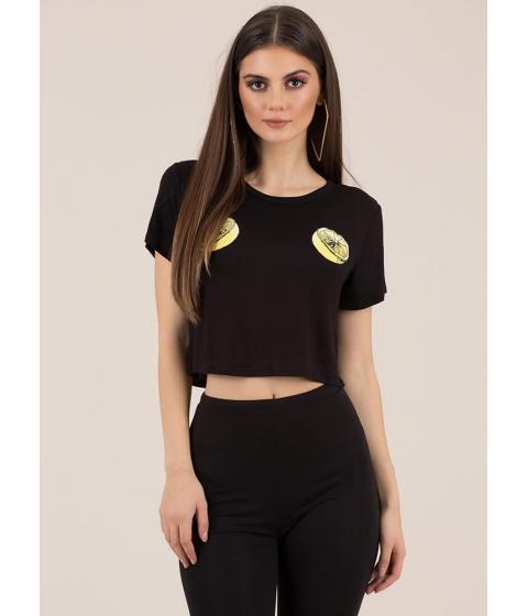 Imbracaminte Femei CheapChic Main Squeeze Lemon Graphic Crop Top Black