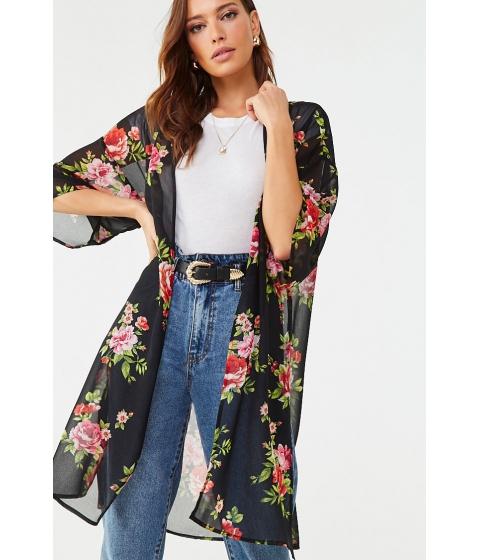 Imbracaminte Femei Forever21 Chiffon Floral Kimono BLACKMULTI