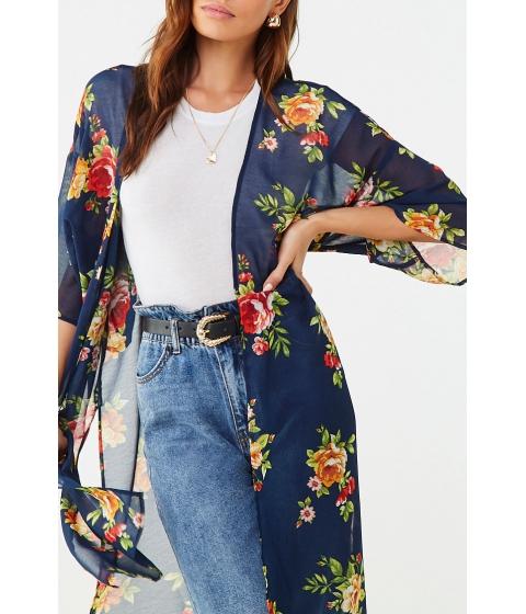 Imbracaminte Femei Forever21 Chiffon Floral Kimono NAVYMULTI