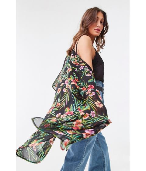 Imbracaminte Femei Forever21 Sheer Tropical Floral Print Kimono BLACKRED