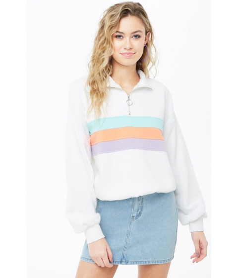 Imbracaminte Femei Forever21 Striped Pull-Ring Pullover WHITEMULTI