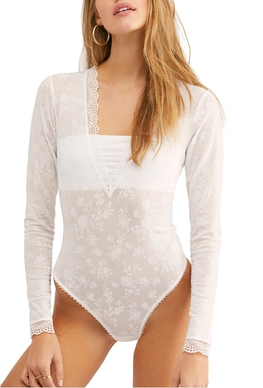 Imbracaminte Femei Free People Intimately FP Babes N Bandeaus Long Sleeve Thong Bodysuit WHITE COMBO