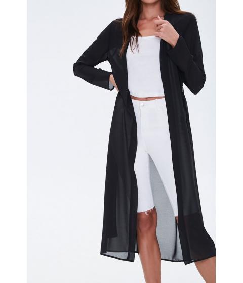 Imbracaminte Femei Forever21 Chiffon Longline Kimono BLACK