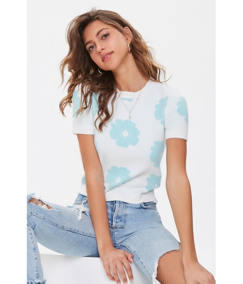 Imbracaminte Femei Forever21 Floral Brushed Knit Top CREAMSAGE