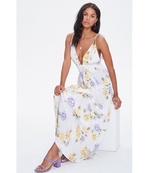 Imbracaminte Femei Forever21 Floral Plunging Maxi Dress CREAMMULTI