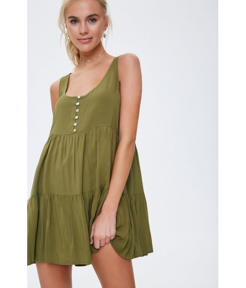 Imbracaminte Femei Forever21 Tiered Button-Front Mini Dress OLIVE