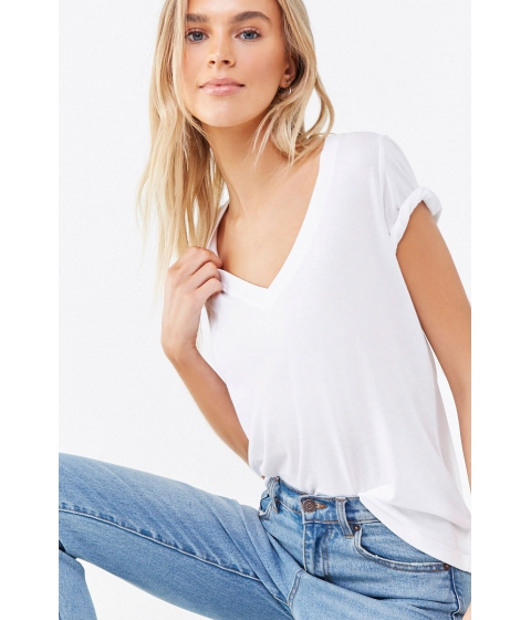 Imbracaminte Femei Forever21 Basic V-Neck Tee WHITE