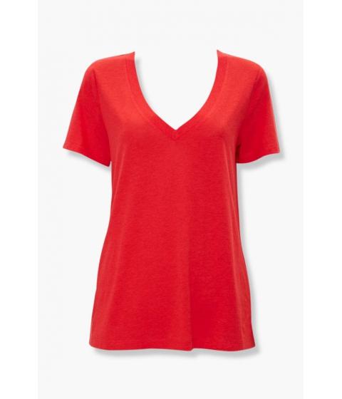 Imbracaminte Femei Forever21 Basic V-Neck Tee RED
