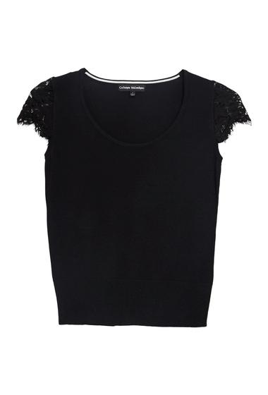 Imbracaminte Femei Catherine Catherine Malandrino Short Lace Sleeve Blouse BLACK