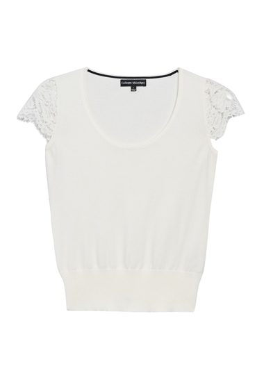 Imbracaminte Femei Catherine Catherine Malandrino Short Lace Sleeve Blouse WHITE VERA