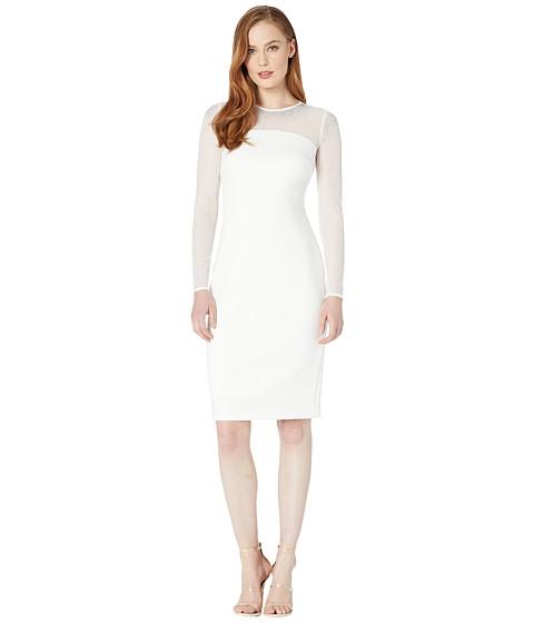 Imbracaminte Femei Calvin Klein Long Sleeve Sheath Dress w Embellished Neck Detail Cream