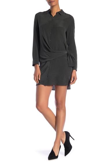 Imbracaminte Femei ALLSAINTS Milton Tie Waist Silk Shirt Dress SMOKE BLACK