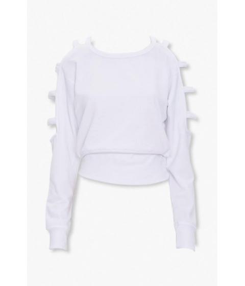 Imbracaminte Femei Forever21 Caged-Sleeve Sweatshirt WHITE