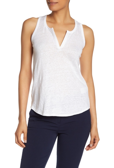 Imbracaminte Femei Vince Split Neck Slub Tank Top OPTIC WHITE
