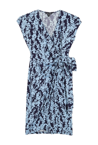 Imbracaminte Femei Maggy London Floral Cap Sleeve Wrap Dress BLUE
