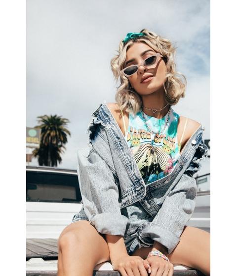 Imbracaminte Femei Forever21 Acid Wash Ruffle-Trim Denim Jacket DENIM WASHED