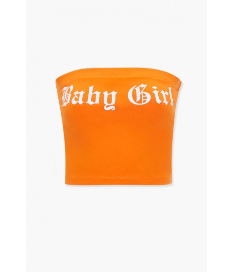 Imbracaminte Femei Forever21 Baby Girl Graphic Tube Top ORANGEWHITE
