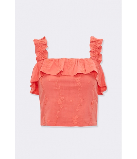Imbracaminte Femei Forever21 Embroidered Flounce Crop Top CORAL