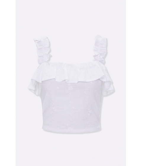 Imbracaminte Femei Forever21 Embroidered Flounce Crop Top WHITE