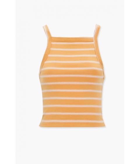 Imbracaminte Femei Forever21 Cotton-Blend Striped Cami ORANGEWHITE
