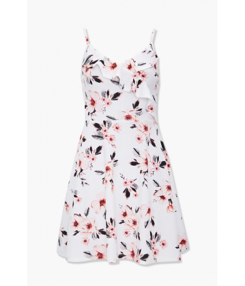 Imbracaminte Femei Forever21 Ruffled Floral Fit Flare Dress BLACKCREAM