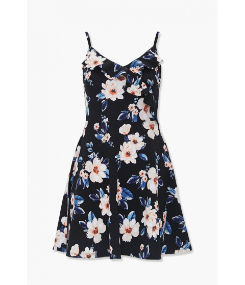 Imbracaminte Femei Forever21 Ruffled Floral Fit Flare Dress CREAMOLIVE