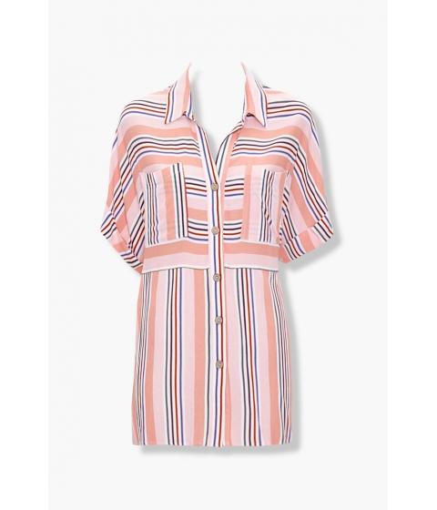Imbracaminte Femei Forever21 Striped Pocket Shirt BLUSHMULTI