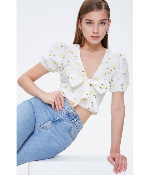 Imbracaminte Femei Forever21 Lemon Print Tie-Front Top WHITEYELLOW