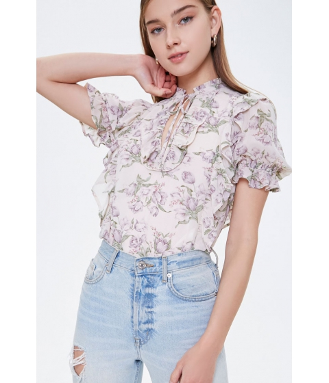 Imbracaminte Femei Forever21 Chiffon Floral Tie-Front Top BEIGEMULTI
