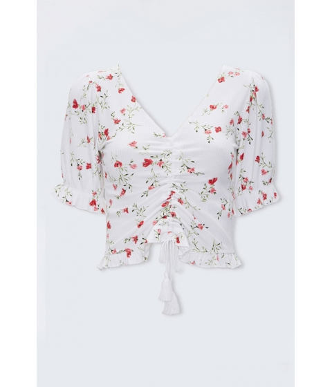 Imbracaminte Femei Forever21 Ruched Floral Print Top IVORYMULTI