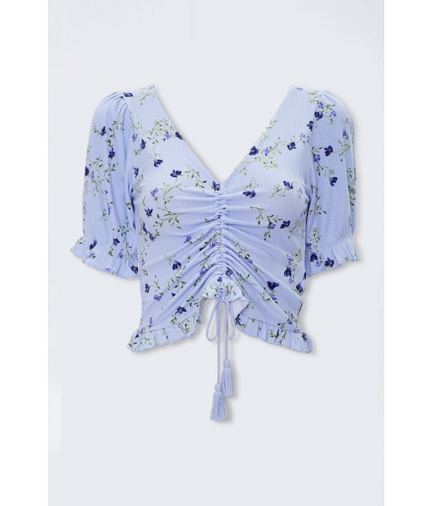 Imbracaminte Femei Forever21 Ruched Floral Print Top PERIWINKLEMULTI