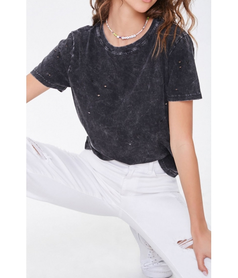 Imbracaminte Femei Forever21 Distressed Mineral Wash Tee BLACK