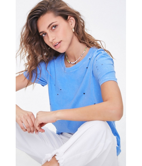 Imbracaminte Femei Forever21 Distressed Mineral Wash Tee BLUE