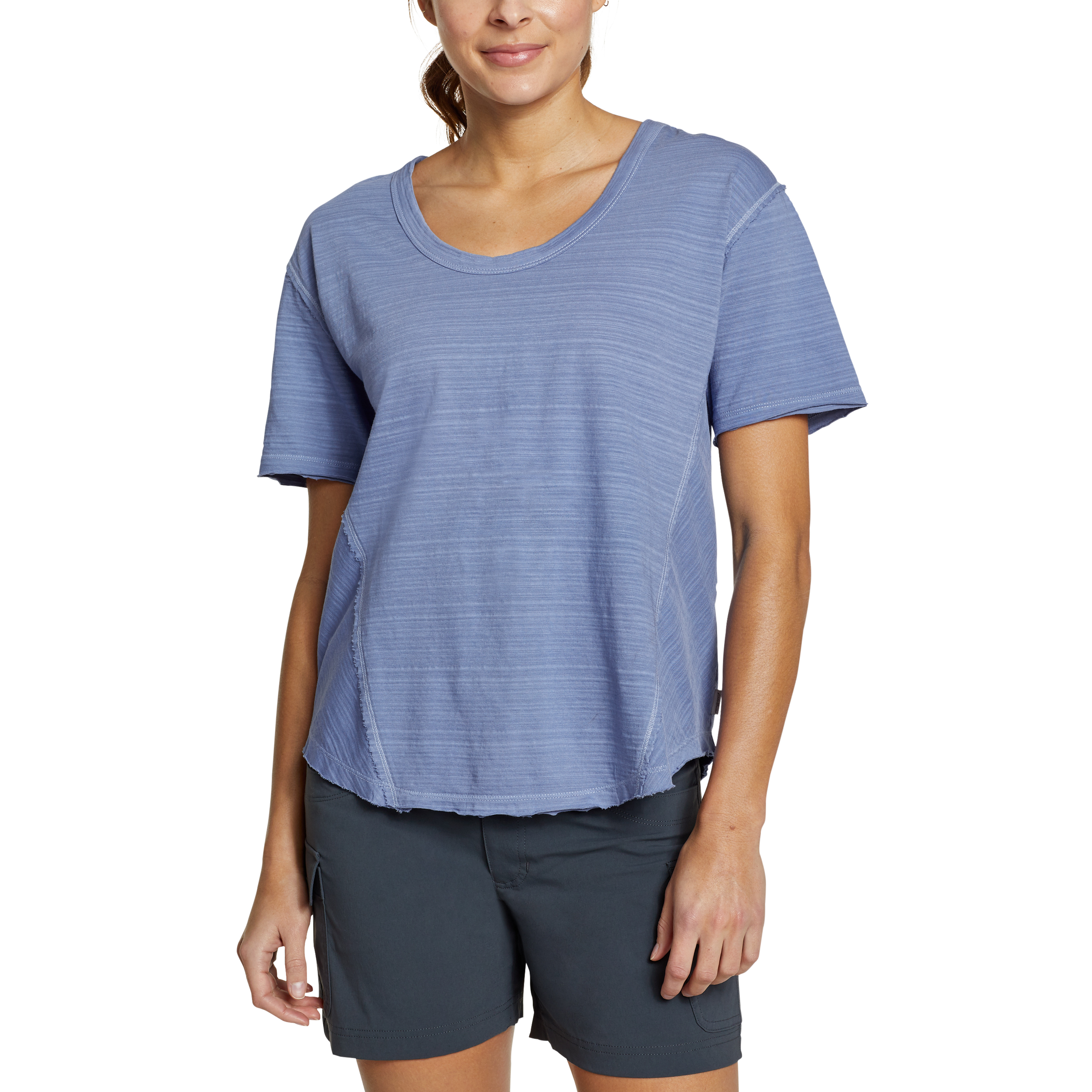 Imbracaminte Femei Eddie Bauer Adventure Elbow U-Neck Tee Metal Blue