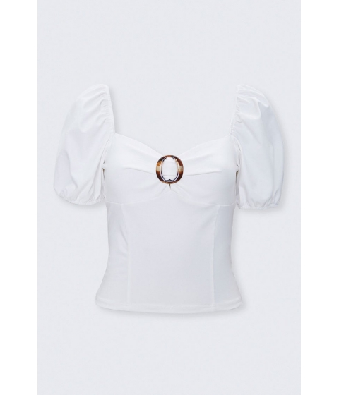 Imbracaminte Femei Forever21 Sweetheart Puff-Sleeve Top IVORY