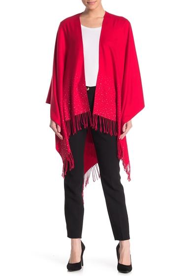 Imbracaminte Femei Just Jamie So Soft Studded Fringe Trim Ruana RED