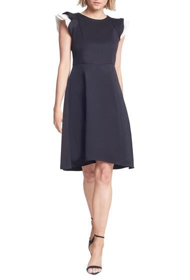 Imbracaminte Femei Halston Heritage Contrast Ruffle Sleeve Cocktail Dress BLACKCHALK