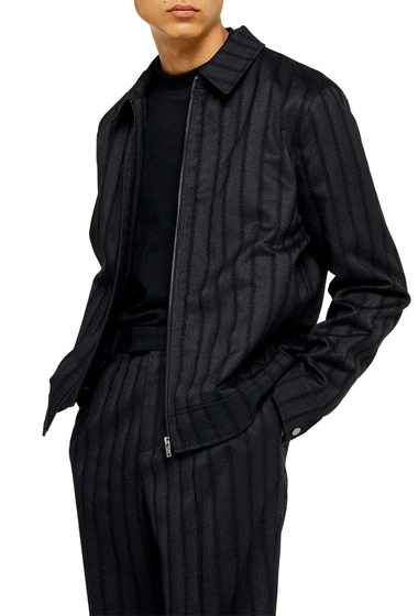 Imbracaminte Barbati TOPMAN Herringbone Zip Jacket NAVY BLUE