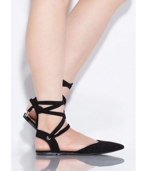 Incaltaminte Femei CheapChic Lace Me Up Pointy Faux Suede Flats Black