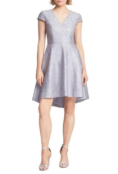Imbracaminte Femei Halston Heritage Metallic Jacquard HighLow Cocktail Dress SILVER GRE
