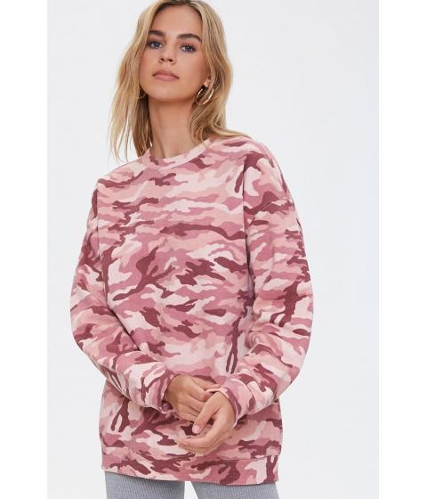 Imbracaminte Femei Forever21 Camo Print Drop-Sleeve Pullover PINKMULTI