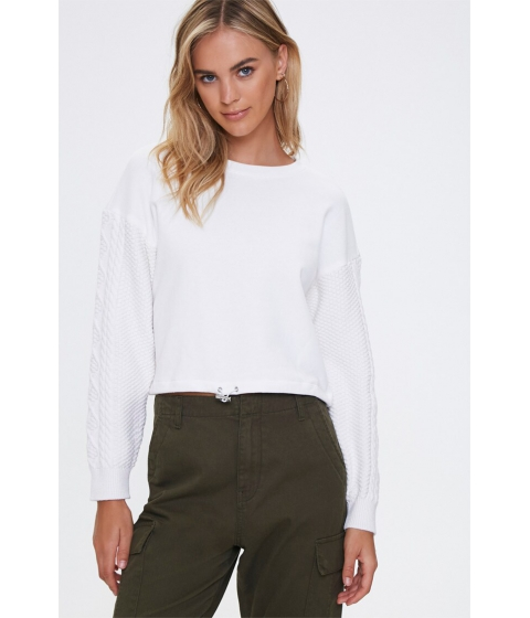 Imbracaminte Femei Forever21 Cable Knit-Sleeve Pullover CREAM