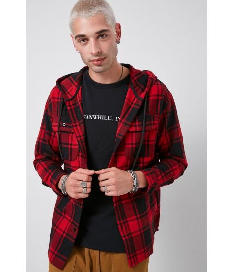 Imbracaminte Barbati Forever21 Classic Hooded Plaid Flannel Shirt BLACKRED